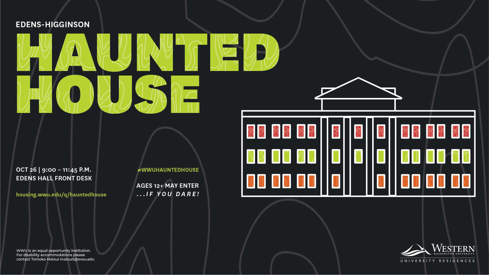 Infographic with Haunted House event information