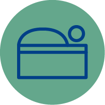 Icon resembling a stationary bed