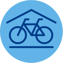 Icon resembling indoor bike storage