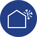 An icon of a house with a snowflake