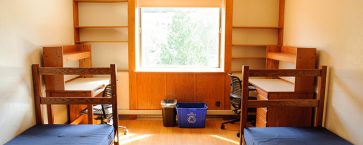 A double room in Mathes Hall, facing the window