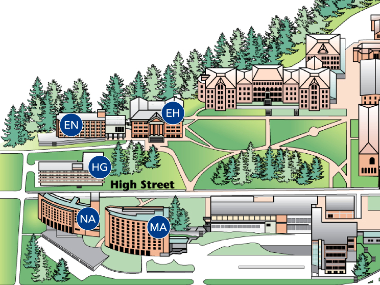 A map of the north campus residence halls