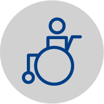 Icon resembling a wheelchair