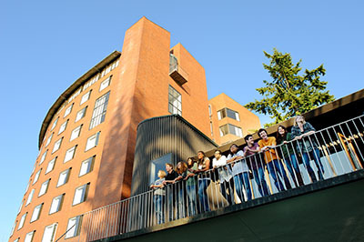Students on the Mathes hall balcony