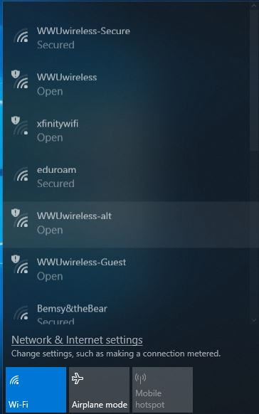 Screenshot of wifi network selection on Windows 10