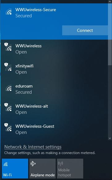 Screenshot of a selected wireless network in Windows 10