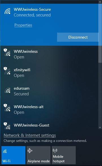 Screenshot of a successful wifi connection in Windows 10