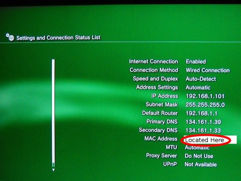 Screencap of final PS3 page with MAC address highlighted.