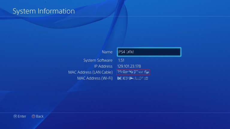 Screencap of example MAC address of PS4