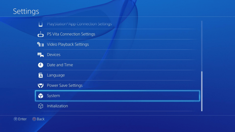 PS4 settings menu screencap with system highlighted.