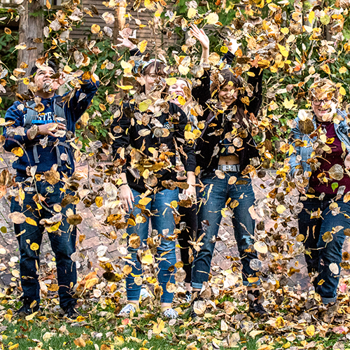 A group of students throw a pile of leaves into the air in the Fairhaven courtyard