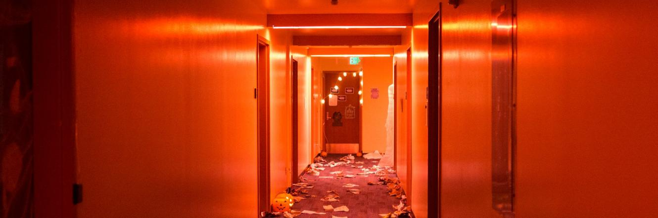 A hallway after the conclusion of the E-Higgy Haunted House