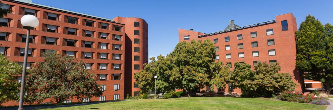 An exterior shot of Mathes Hall and Nash Hall in the sun
